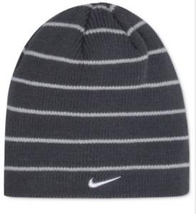 $95 Nike Kids Boys Gray Striped Cap Ribbed Reversible Warm Winter Beanie O/S