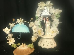 Vintage 1940's Wedding Cake Topper with Bell  with Shower Topper