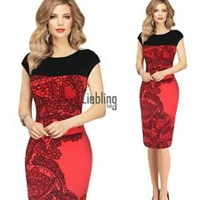 Ens Vintage Rockabilly Pinup Bodycon Fitted Party Pencil Shift Sheath Dress LEBB XL