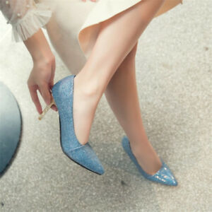 Womens Sequins High Heels Pumps Fashion Pointed Toe Stilettos Plus Size Shoes