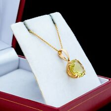 Antique Vintage Art Deco Retro Style 14k Yellow Gold Peridot Pendant Necklace