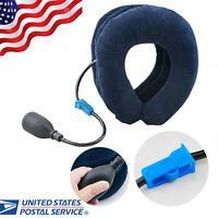 US Neck Stretcher Head Pain Relief Inflatable Cervical Traction Portable Pillow