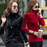 Women Winter Casual Stretch Velvet Long Sleeve Turtleneck Basic T-Shirt Warm Top