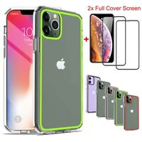 For iPhone 11 Pro Max Case Ultra Thin Rubber Clear Phone Cover+Screen Protector