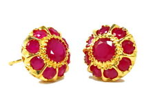 Beautiful Thai CZ Ruby Stud Earrings 22K 18K Yellow Gold GP Jewelry GT26