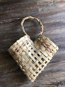Woven Wicker Hanging Basket-V Heart Shaped- Rustic Farmhouse Bottle Holder(?)