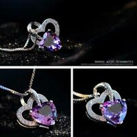mode süß versilbert frauen lila stein anhänger crystal halskette schmuck