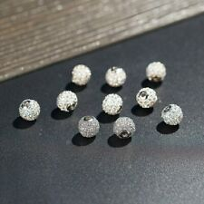 10Pcs 8mm Brass Clear Silver Crystal CZ Pave Micro Disco Ball Beads Round Beads
