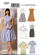 VOGUE SEWING PATTERN 9293 MISSES 14-22 EASY MOCK WRAP TIE DRESSES, SKIRT OPTIONS