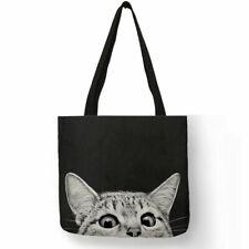 Women Fabric Shopping Handbags Traveling Cute Kitty Cat Print Tote Shoulder Bag