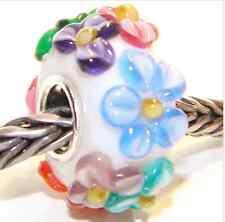 5pcs SILVER MURANO GLASS BEAD LAMPWORK Flowers Fit European Charm Bracelet QH041