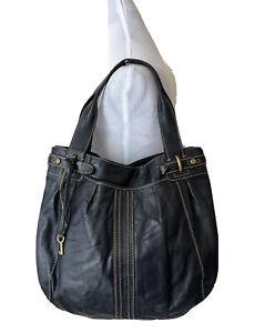 Fossil Hobo Handbag Black Leather Shoulder Bag Stitched Vintage Inspired Purse