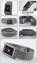 Square Unisex Wrist watch by MONDAINE Swiss made with Mesh Bracelet