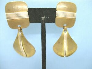 Marjorie Baer Vintage Two Tone Metals Dangle Clip On Earrings Wrapped