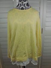 J. Jill Button Back Accent Blouse Women's Large Petite Yellow Knit Top Shirt