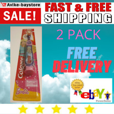 2 x Colgate Toothbrush for 2-5 Years Old Girl Barbei Extra Soft Fun Suction Cup