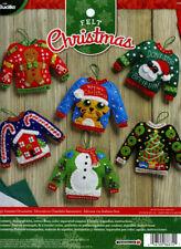 Bucilla Ugly Sweaters ~ 6 Pce. Felt Christmas Ornament Kit #86674, Frosty, Santa