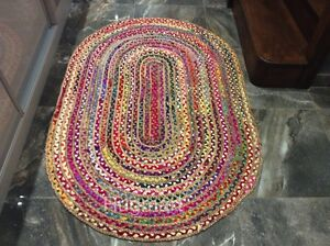 Jute & Recycled Cotton Multi Colour Oval Braided Reversible In Outdoor Area Rugs