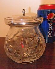 American Victorian Cut Glass Windows Frost Cornflower w Sterling Watson Cover