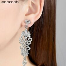 Crystal Long Drop Earrings Diamante Bridal Chandelier Rhinestone Silver Wedding
