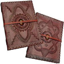 """Cuero Real Vintage Hecho A Mano Diario Sketchbook Diary-Tigres Ojo Piedra 10 """"x 7"""""""