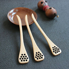 NEW 1X Bionic Natural Wood Honey Dipper Server Mixing Stick Spoon Healthy Hot*