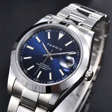 Luxury PARNIS Automatic Men Wristwatch Sapphire Glass Mental Strap Date Window