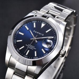 Luxury Blue PARNIS Automatic Men Wristwatch Sapphire Glass Polished Strap Date