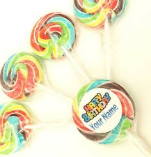 30 PERSONALISED WHEELPOPS WITH STICKERS RETRO ROCK CANDY LOLLY ROCK LOLLYPOPS