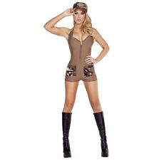 Adult Woman Costume Sexy Army Soldier Bodysuit Beige Size Small Medium 2 Pc Set