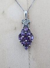 Vintage Diamond Amethyst Silver Pendant Necklace