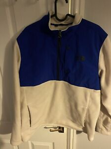 mens north face fleece large Blue And White