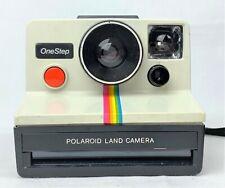 Original Polaroid SX-70 OneStep White Rainbow Stripe Land Camera w Case & Flash