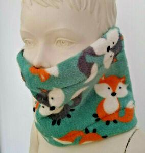 Infant FOX Animal NECK FACE WARMER CUDDLE FLEECE scarf snood school toddler hat