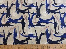 American Airforce USAF Fabric 1 FQ helicopter fighter jet navy blue Fat Quarter