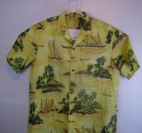 Royal Creations Mens  X Large Yellow Hawaiian Island Boats Aloha Shirt