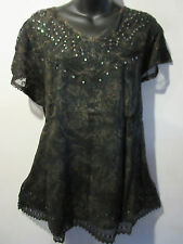Top Fits XL 1X 2X Plus Tunic Black Sequin V Neck Lace Sleeve A Shape NWT 774
