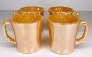 4 Fire King Orange Peach Luster Carnival Glass Finish D Handle Coffee Mugs