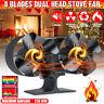8 Blade Dual Head Heat Powered Eco Friendly Log Burner Fireplace Stove Top Fan