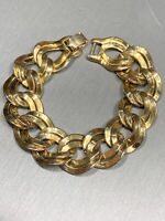 "Vintage Monet Signed Wide Gold  Tone Chain Link Bracelet 3/4"" Wide 7.5"" Long"