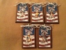 5 Wooden Americana Ornaments,Patriotic GiftTags,Bowl Fillers,Usa HangTagsSetq1