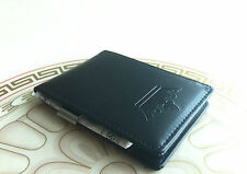 Mens All Black Faux Leather Slim Fold Money Clip Wallet Credit ID Card Holder