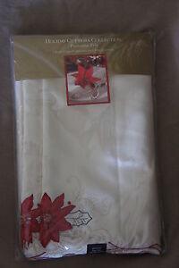 "Homewear Holiday Cutwork Collection Poinsettia Trio Tablecloth 60"" X 104"" Oblong"