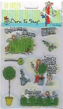 Papermania clear stamp set born to shop garden topiary lawn friends welcome weed