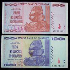 2 Zimbabwe banknotes-1 x 5 &10 Billion Dollars -paper money currency