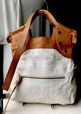 FOLEY + CORINNA SHOULDER BAG MID CITY CONVERTIBLE BAG Brown Leather Beige Canvas