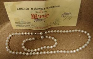 MAJORICA Sterling Clasp Pearl Necklace and Bracelet Set with Paperwork