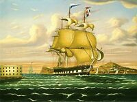 CHAMBERS AMERICAN SHIP CASTLE WILLIAMS NEW YORK OLD ART PAINTING POSTER BB5073A