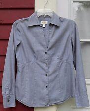 "TALBOTS Black Marled Long Sleeved Button Down Cotton Shirt Size 4 (35"") EUC"