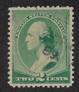 US # 213 (1887) 2c Washington - Green - Used - XF